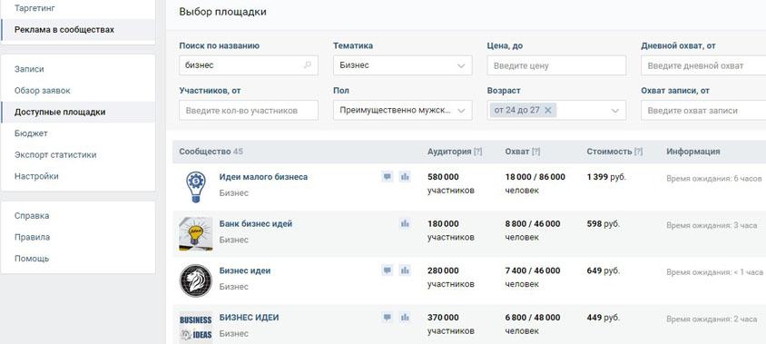 Реклама в пабликах Вконтакте